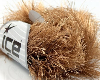38Yd Light Brown Extra Long Eyelash Yarn Ice Luxurious Brown Fun Fur 50gr 14170