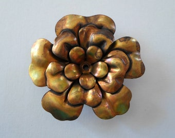 Vintage Oxidized Brass Layered Flower Finding 39mm