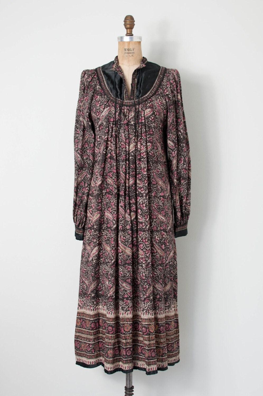 robe coton indien vintage des ann es 70 70 s indienne robe. Black Bedroom Furniture Sets. Home Design Ideas