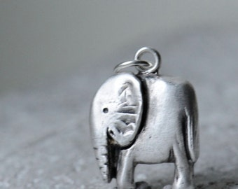 Silver mother elephant pendant on sterling silver chain,charity jewelry, proceeds to The David Sheldrick Wildlife Trust