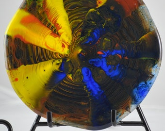 Fused Art Glass and Precious Metals Mixed Media Art.  Fused Glass Mixed Media Abstract Piece.