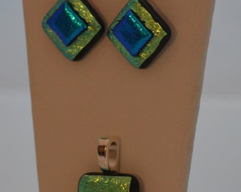 Fused Glass Necklace and Earrings Set, Green and Blue Dichroic Glass, SRAJD