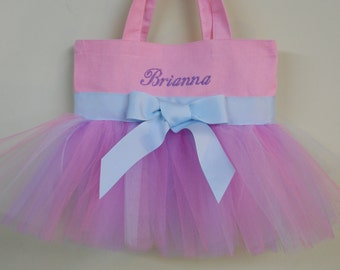 Embroidered Dance Bag -Pink Tote Bag with pink, purple and blue tulle and light blue ribbon Tutu Tote Bag - TB09 - BP