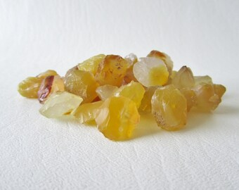 Deep Butter Yellow Chalcedony Hammer Faceted Discs, 4 pieces