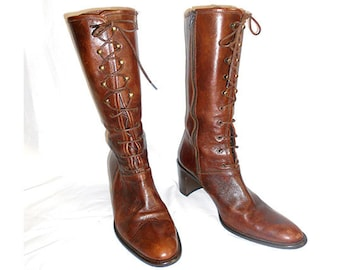 Vintage  1990s  Brown Leather Lace Up Boots Mid Calf   Size U.S. 6 .5  Franco Martini Made in Italy Hippie Boho
