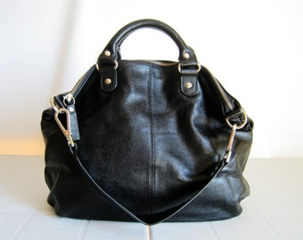 Black leather tote bag - Rico - Made to order