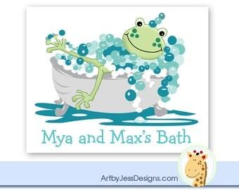 Frog in Tub Kids Bathroom Art Print, Froggy Bathroom Art Ready to Frame! Choose size