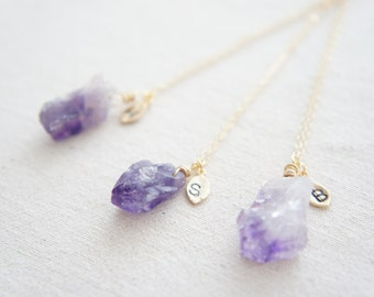 February Birthstone Amethyst Rough Briolette Nuggets necklace with a leaf initial necklace, gold, wedding, bridesmaid, layered necklace