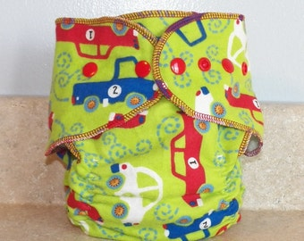 Fitted Medium Cloth Diaper- Vehicles- 10 to 20 lbs