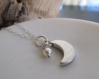 Crescent Moon Necklace, Silver Moon Jewelry Pearl,  Modern Night Sky Pendant - CRESCENT