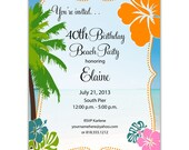 Digital File Print it Yourself/Birthday Invitations/you can change the colors/Elaine design