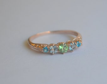 Vintage Reproduction 5 Stone 14K Rose Gold Ring with Mint Garnet, Aquamarine and Apatite
