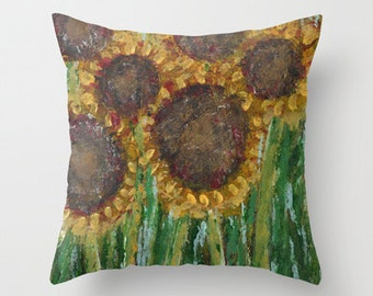 Sunflower Pillow Cover 16x16, 18x18 or 20x20