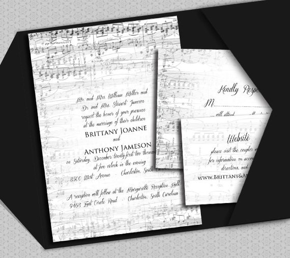 DIY Vintage Music Printable Wedding Invitation Suite By