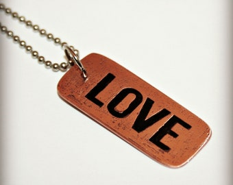 Etched Copper Charm - LOVE - Reverse Etched Pendant - Other Inspirational Words Available