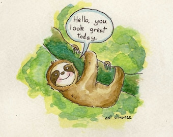 Gentleman Sloth A4/A5 Digital Print
