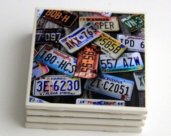 Rustic Coaster Set, License Plates, Ceramic Tile, Photography, 4X4, Home Decor, Man Cave, Gift for Dad