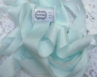Pure Silk Ribbon Seafoam Color 1 inch wide 5 yard Spool ON SALE FOR Limited Time