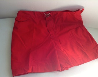 Vintage 70's Men's Swimsuit, Swim Trunks,  Swimwear, SHORTS. Red. Let's go surfin.  Size 36.  Norm Thompson.  Made in USA