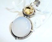Large Chalcedony and Citrine Sterling Silver Pendant on Etsy