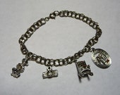 Sterling Silver Charm Bracelet with 4 Charms on Etsy