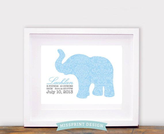Elephant Baby Nursery Art, Damask, Personalized, Baby Shower Gift 8x10