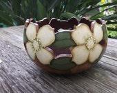 Handpainted Gourd Dogwoods Bowl Planter Flowers