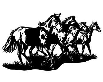 Horse, mustang decal, horse herd sticker, western wall decor, girls room, vinyl wall art, 21 X 36 inches