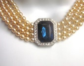 Pearl and Rhinestone Necklace Kenneth Lane Lady Diana Necklace Simulated Sapphire