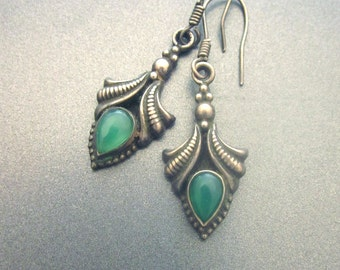 Vintage Sterling Silver Earrings with Green stones 925