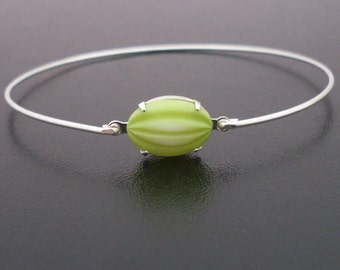 Lime Green Bangle Bracelet, Lime Green Bracelet, Green Lime Slice, Silver, Lime Green Jewelry, Fruit Jewelry, Fruit Bracelet, Fruit Bangle