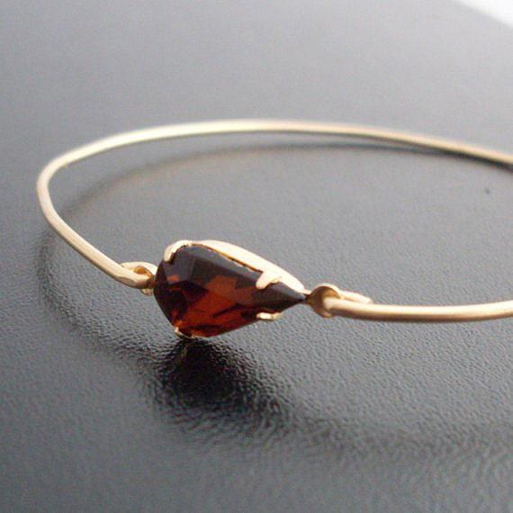 Brown Bangle Bracelet, Silvia - Gold, Brown Bracelet, Brown Rhinestone Bracelet, Rhinestone Jewelry, Brown Wedding Jewelry, Brown Jewelry