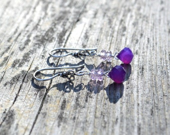 Ametrine and chalcedony dangle earrings, ametrine jewelry