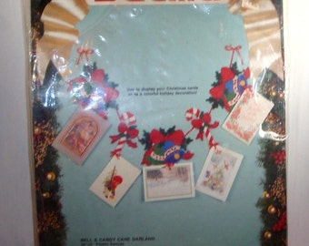 Vintage Bell Candy Cane Garland Kit, Bucilla, Needlepoint Kit, Unopened, DIY, Crafting, Red and Green  (108-14)