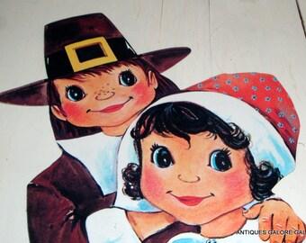 Vintage Pilgrim Die Cut, Thanksgiving Decoration, Big Eyes, Holiday Decor,  Paper Ephemera   (244-14)