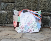 Patchwork and Mushrooms Bag - Shabby Chic - Vintage Embroidery, Patchwork and Cotton Straps