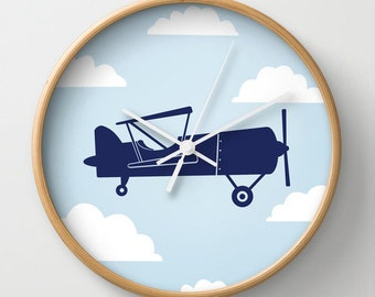 Biplane Blue with Clouds Wall Clock 10 inch Diameter