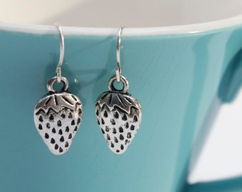 Silver Strawberry Earrings- Charm Earrings