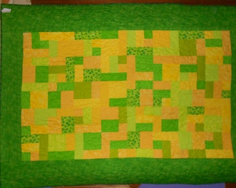 Twin Size Bed Quilt  Bright Yellow and Green 31