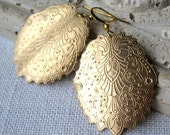 Romantic Gold Earrings, Peacock Earrings, Gold Scalloped Earrings, Large Earrings, Dangle Earrings