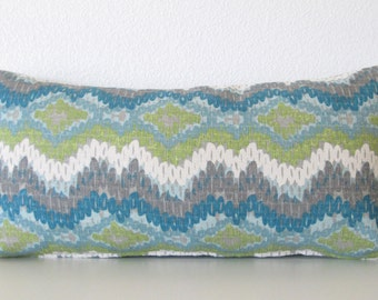 Blue ikar waves lumbar pillow cover - ikat waves decorative pillow cover - green blue grey and white accent pillow cover