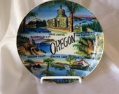 Vintage Oregon State Collector Plate - travel souvenir - handpainted - marked Ri - wall decor