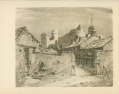 Middleham Near the Castle, Yorkshire, Vintage Print 203, Old England Town/Countryside, Great Britain World War 2, WW2