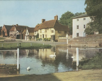 Finchingfield Pond, Horse Pond, Essex, Plate 85, English Heritage, England Photograph, Vintage Print, 1957