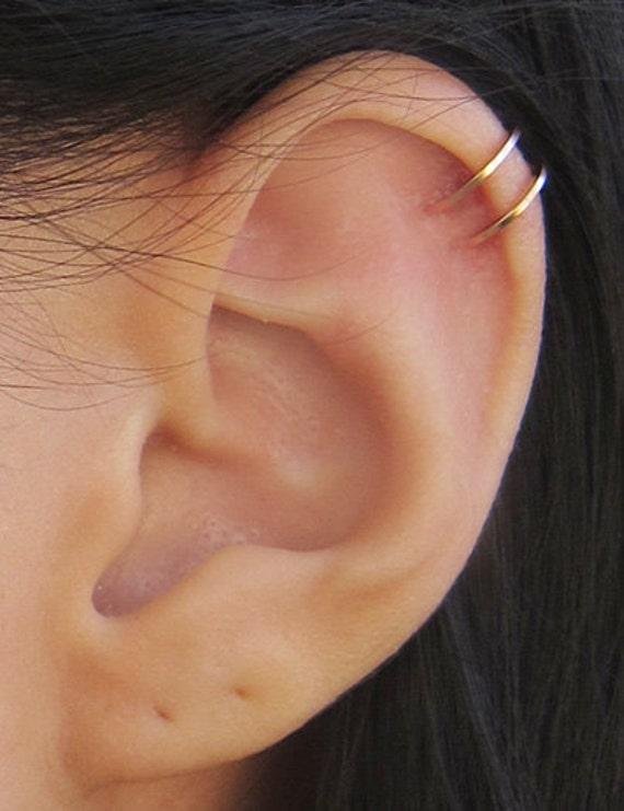Rose Earrings Etsy Rose Gold Filled Two Ring Ear