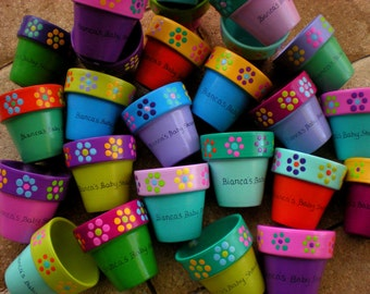 Baby Shower Favors - Painted Flower Pots - Small Flower Pots - Succulent Planters - Small Painted Pots