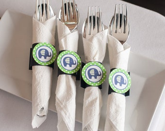 Elephant Theme Birthday Party - Elephant Napkin Rings - Silverware Wraps - Elephant Party Decorations in Navy Blue and Green (12)