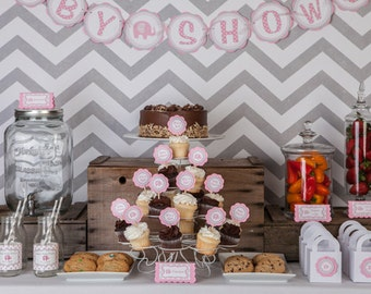 Elephant Baby Shower Decorations - BABY SHOWER Banner Party Sign, It's a Girl Baby Shower Decoration, Elephant Banner in Pink and Grey