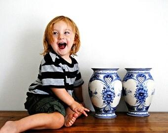 Pair Of Vintage Blue White Floral Porcelain Vases