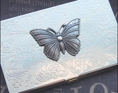 Butterfly Business Card Case Business Card Holder Silver Case Butterfly Case Slim Card Holder Wedding Gift Mirror Case TheEnchantedLocket